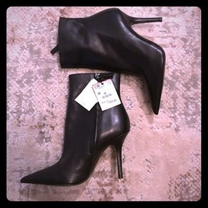 Zara black leather heeled boots NWT
